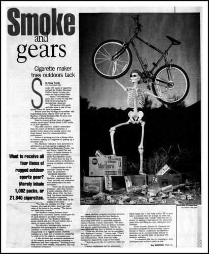 Smoke And Gears – Get A Fuji Mountain Bike For The Buy Of 440 Packs Of Marlboro Cigarettes and $one hundred ten, An Report In The Arizona Every day Star (Tucson Arizona) Newspaper, March 19, 1996