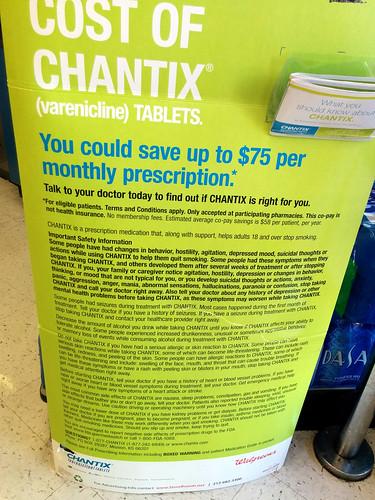 Horrifying list of Chantix facet-consequences, Walgreens, Tempe, Arizona, United states